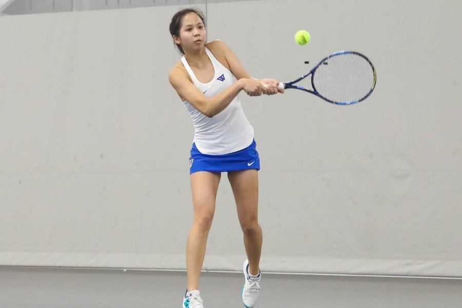Selina Peng and the Blue will play Babson in Tuesday's NEWMAC Semifinal (Miranda Yang).