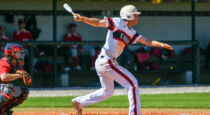 Nico Limoncelli swings and hits a double against Florida Southern JV. He went 4-for-5 with two runs and two RBI in a 14-4 win. (Photo by Tom Hagerty, Polk State.)