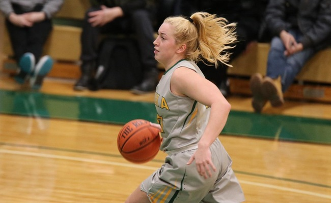 Sam Laranjo (21) continued her strong play with 15 points, 7 assists, and 6 steals in Keuka College's win on Wednesday -- Photo by Abdul