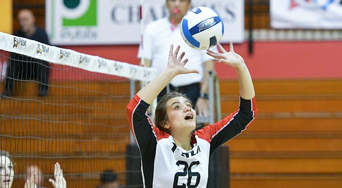 Manuela Vargas was named Volleyball Setter of the Week. During the voting period, she had 38 assists and 18 digs in a win over Daytona Stare. (Photo by Tom Hagerty, Polk State.)