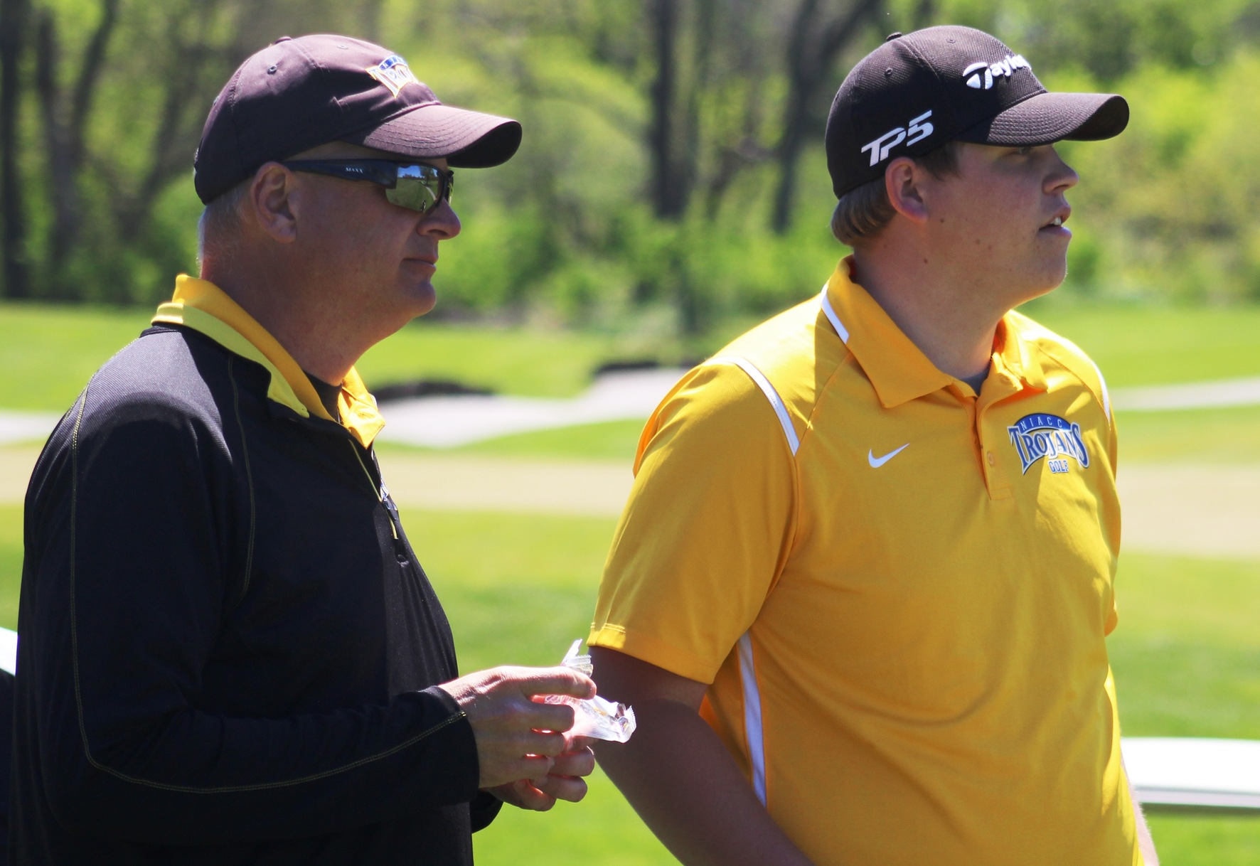 NIACC coach Chris Frenz (left) and Devin Koob at last year's regional tournament in Ames.