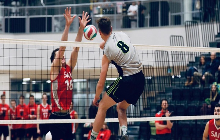 Mark DeWit (8) had 8 kills, 3 digs and 1 assist in Calgary. Pic - Colby Brochu Photography
