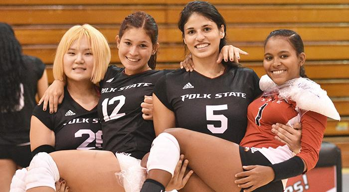 Phoebe Wu, Nicole Boots, Alejandra Sanabria, and Keisha Santana plan to continue their athletic and academic careers at four-year universities. (Photo by Tom Hagerty, Polk State.)