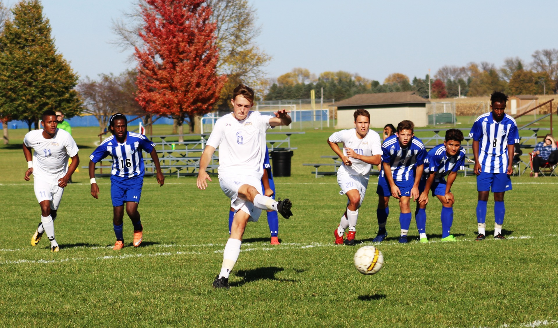 NIACC's Harry Holland scores on a penalty kick in the first half of Tuesday against DCTC.