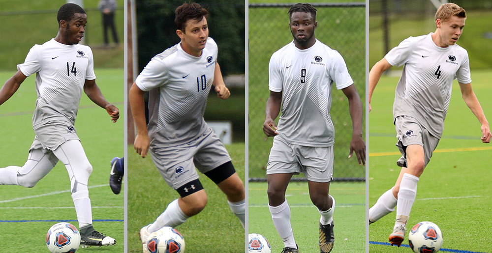 Penn State Brandywine all-Americans Daniel Willie, James Cellucci, Mohamad Camara and Brandon Crochunis