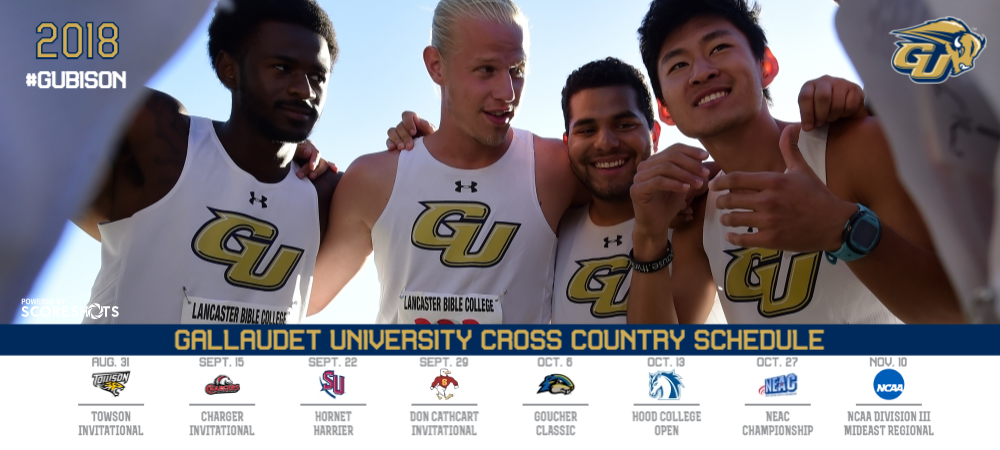2018 Gallaudet men's cross country schedule with dates, logos and name of meets
