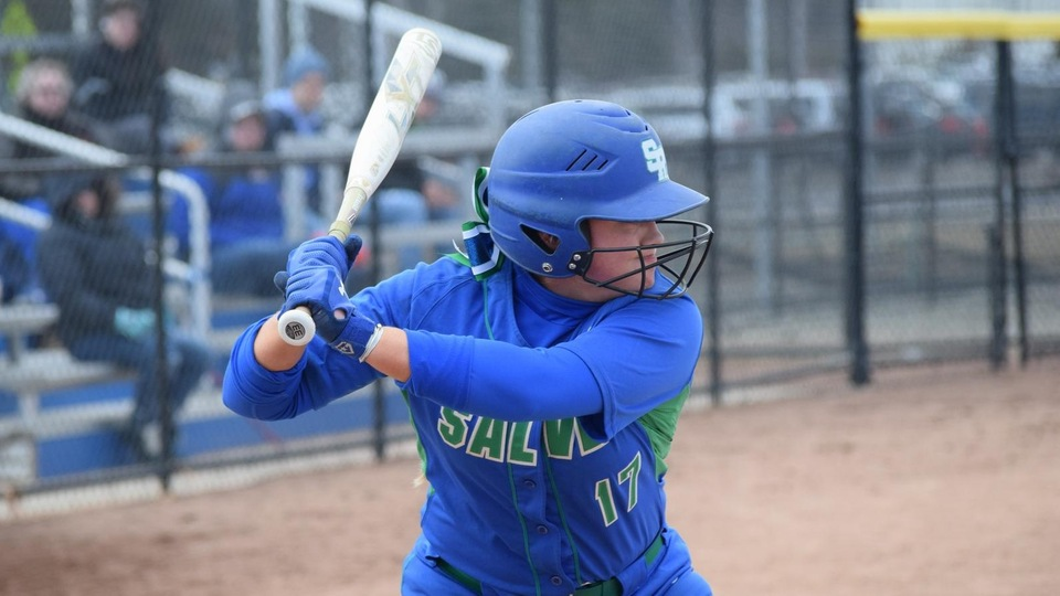 Salve Regina sophomore outfielder Jaycee Garrigan went 4-for-5 with six RBI and three runs scored in the two games at Curry. (Photo by Ed Habershaw)