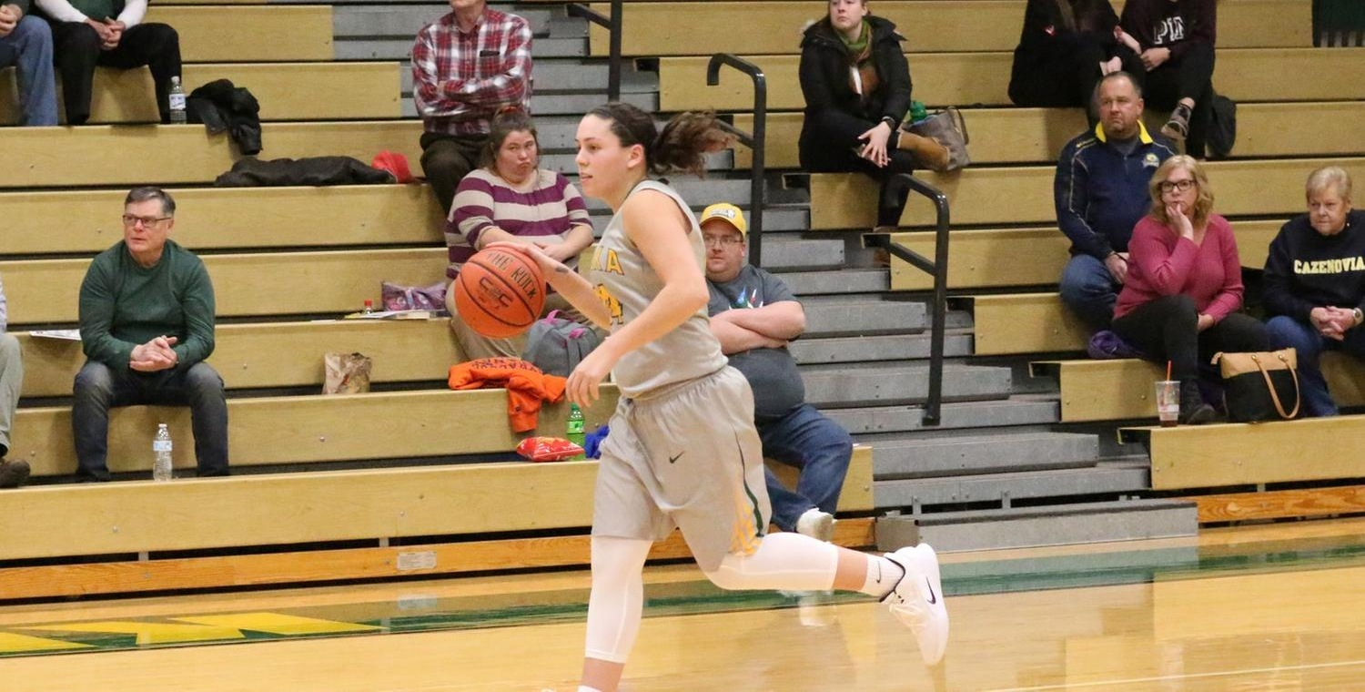 Lauren Anten (24) moved to fourth on the career three-point list at Keuka College -- Photo by Ed Webber