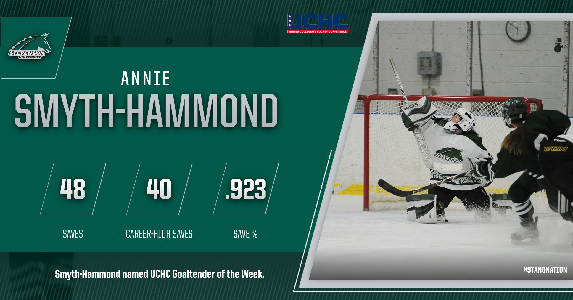 Annie Smyth-Hammond Named UCHC Goaltender of the Week