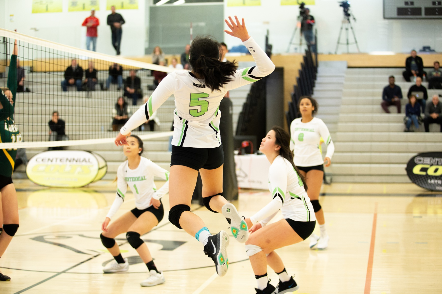 Centennial's Taylor Liou goes up to attempt a kill during the home opener at the Athletic and Wellness Centre between the Colts and the Durham Lords. Durham won the game in four sets. (Nicole Ventura/Colts Media)
