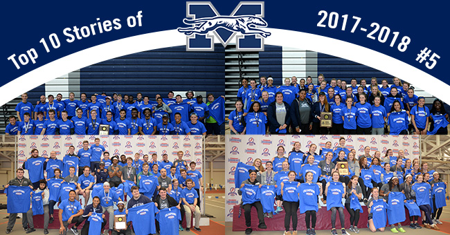 No. 5 on the Top 10 Stories of 2017-18 is the men's and women's track & field teams sweeping the Landmark Conference Indoor and Outdoor Championships.