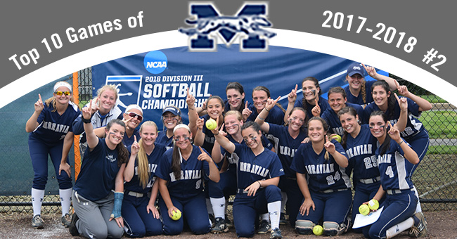 No. 2 on the Top 10 Exciting Games of 2017-18 is the softball team's sweep of Salisbury (Md.) University to win the NCAA Division III Ewing, N.J. Regional.