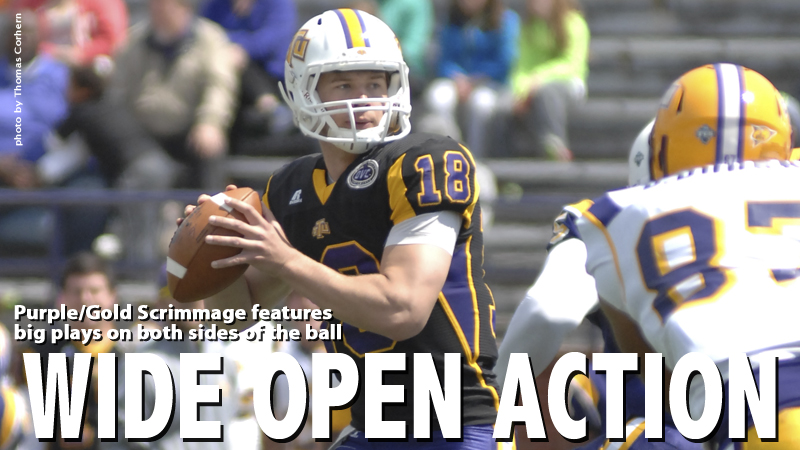 Lots of players see action, produce results in annual Purple/Gold Scrimmage