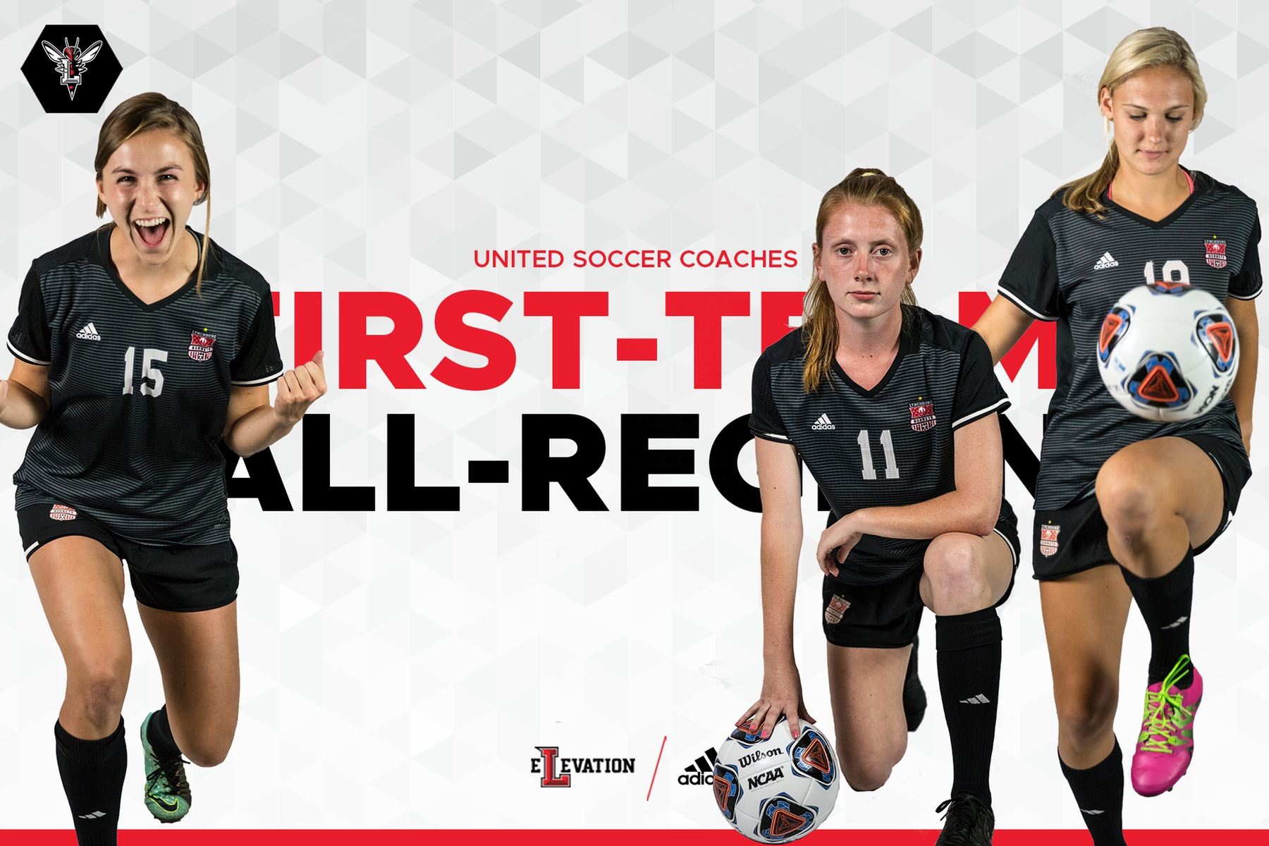 Cutout images of three women's soccer players posing on white background. Text: first-team all-region