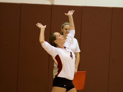 Senior Dana Ruttle and Ferris State tie for first-place honors in the 2010 GLIAC Volleyball Preseason Coaches' Poll.  (Photo by Ed Hyde)