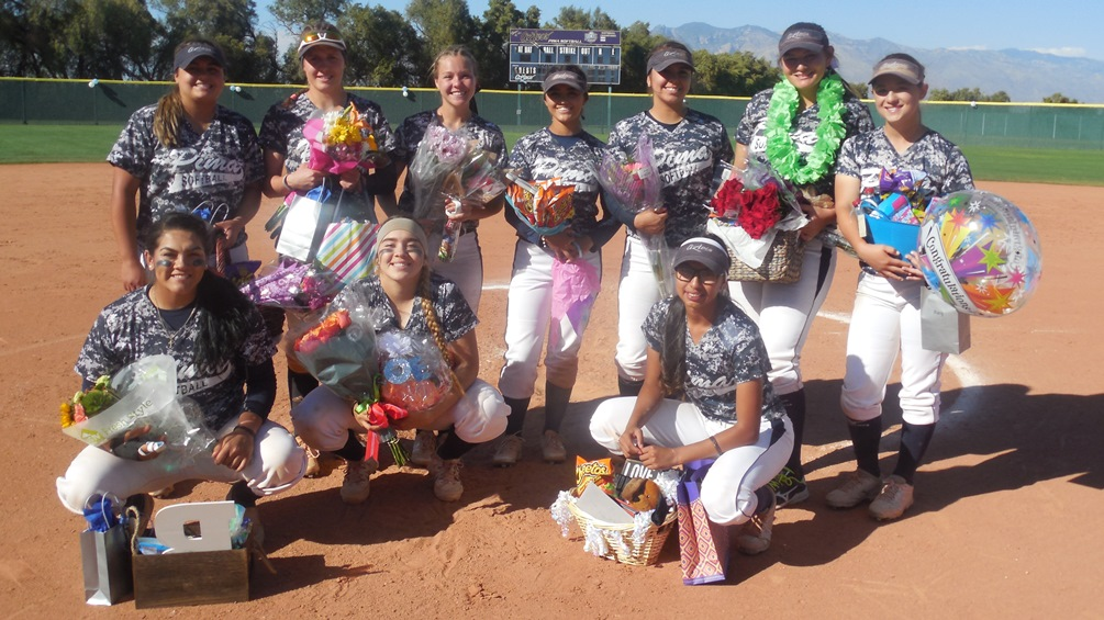 The Pima softball sophomores were recognized after the game: (Top row): Gabriella Gorosave, Courtney Brown, Bailey Critchlow, Mari Ruiz, Gabriela Trejo, Alexa Delgado, Mary Tom. (Bottom row): Margarita Corona, Amy Pacheco and Luisa Silvain. Photo by Raymond Suarez