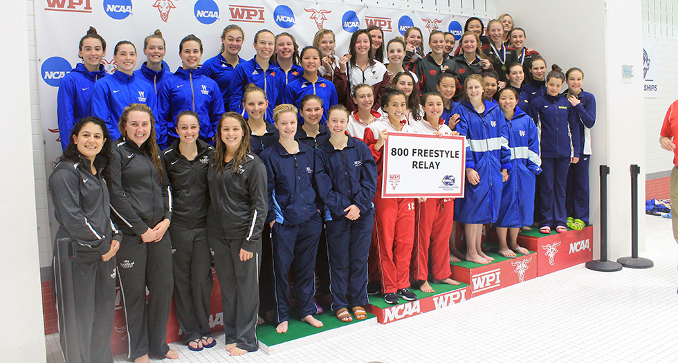 MHC's 800-free relay team of Burkett, Beckett, Berry & Ratzlaff (front row, fifth from the left)
