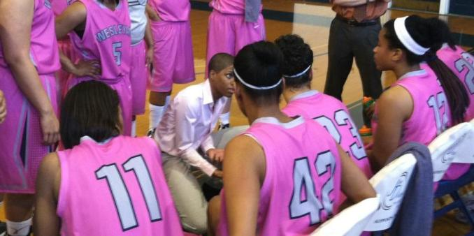 Wesleyan wore pink uniforms in honor of Breast Cancer Awareness.