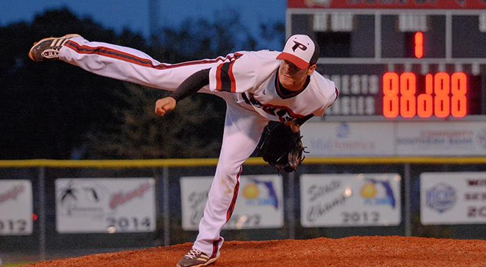 Jose Pupo earned his first win of the season as he and Jordan Barrett combined to shut out Seminole State. (Photo by Tom Hagerty, Polk State.)