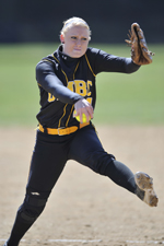 Heather Brown earned the win for UMBC in the second game