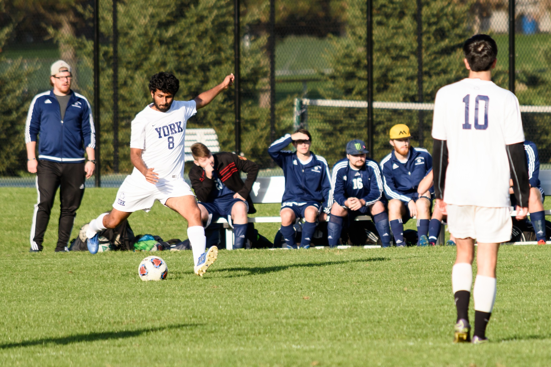 Nityant Rai (8) goes for ball during a Penn State University Athletic Conference quarterfinal game on Wednesday, Oct. 25, at Penn State York. York fell to Penn State New Kensington 2-1 in a hard-fought battle.