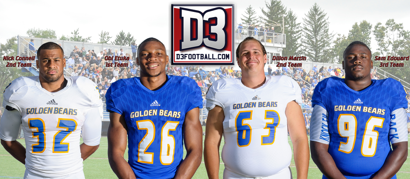 Program Record Four Golden Bears Named to D3football.com All-East Region Team