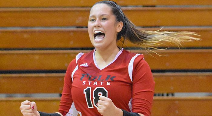Elisabeth Piroli had 63 assists in two matches today for the Eagles. (Photo by Tom Hagerty, Polk State.)