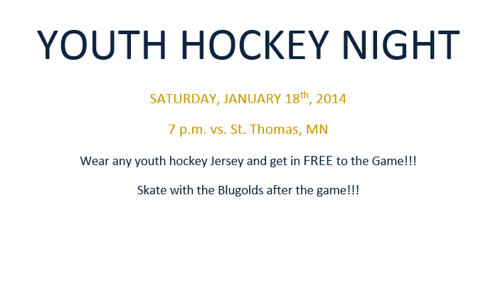 Men's Hockey Youth Night - January 18 @ 7 PM vs. St. Thomas, MN
