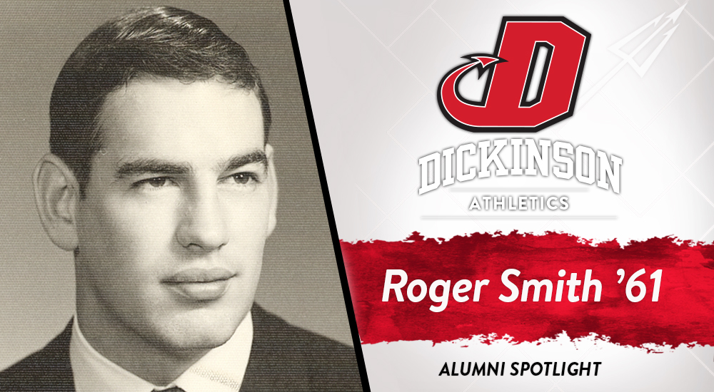 Headshot of Roger Smith from his time here at Dickinson College, on special graphic with Dickinson logo and his name and class year.