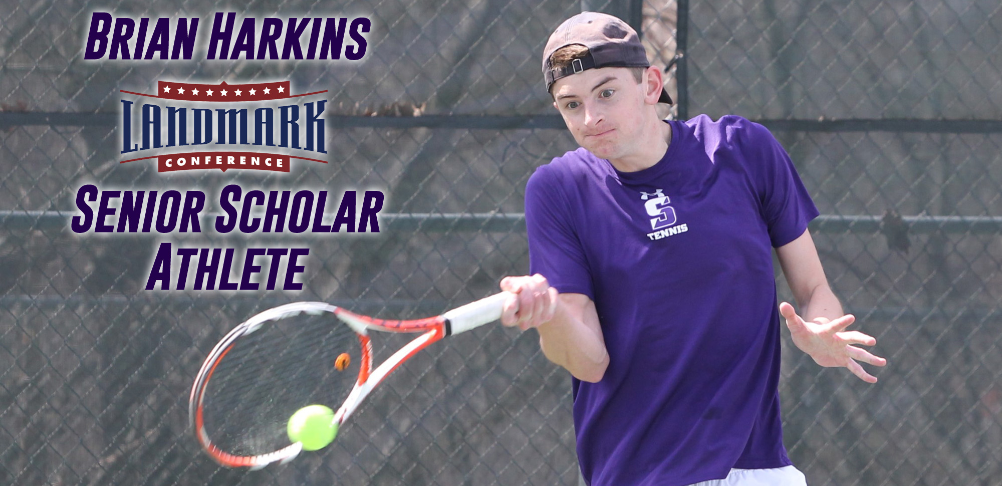 Senior Brian Harkins was named the Landmark Conference Senior Scholar Athlete for men's tennis on Thursday. © Photo by Timothy R. Dougherty / doubleeaglephotography.com
