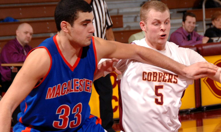 Cobber senior guard Brandon Giese hit a huge 3-point field goal at the end of th first half in Concordia's 58-50 win at Macalester.