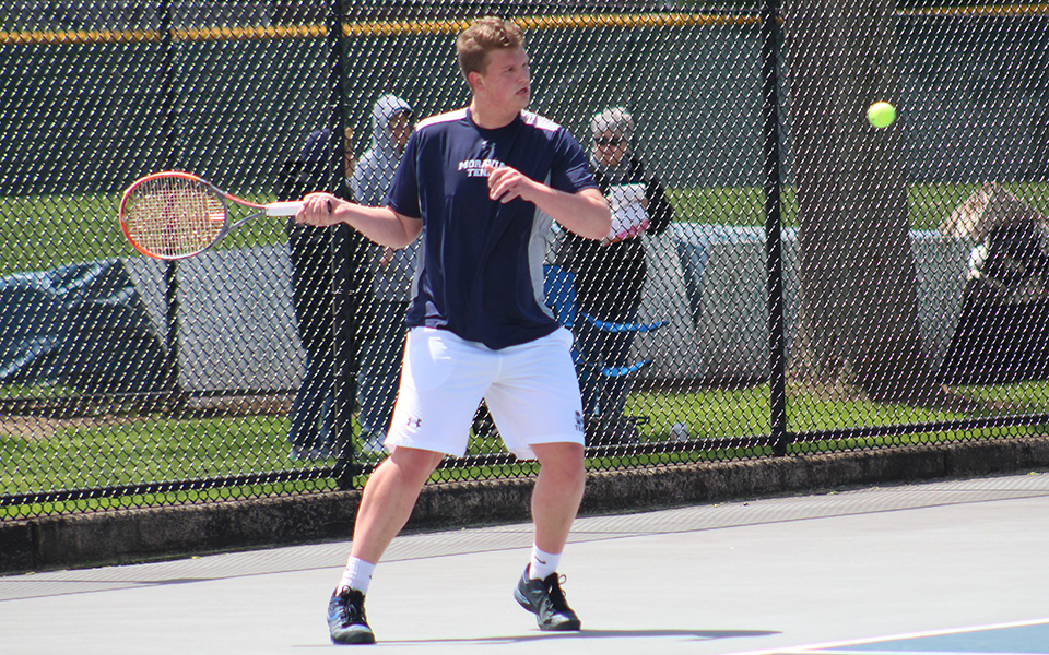 Christopher Csencsits returns a shot versus Eastern University during April 2019 on Hoffman Courts.