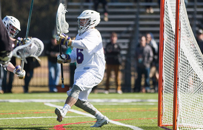 Second-half defense, 5-0 run help men's lacrosse pull away from Post in 12-8 victory