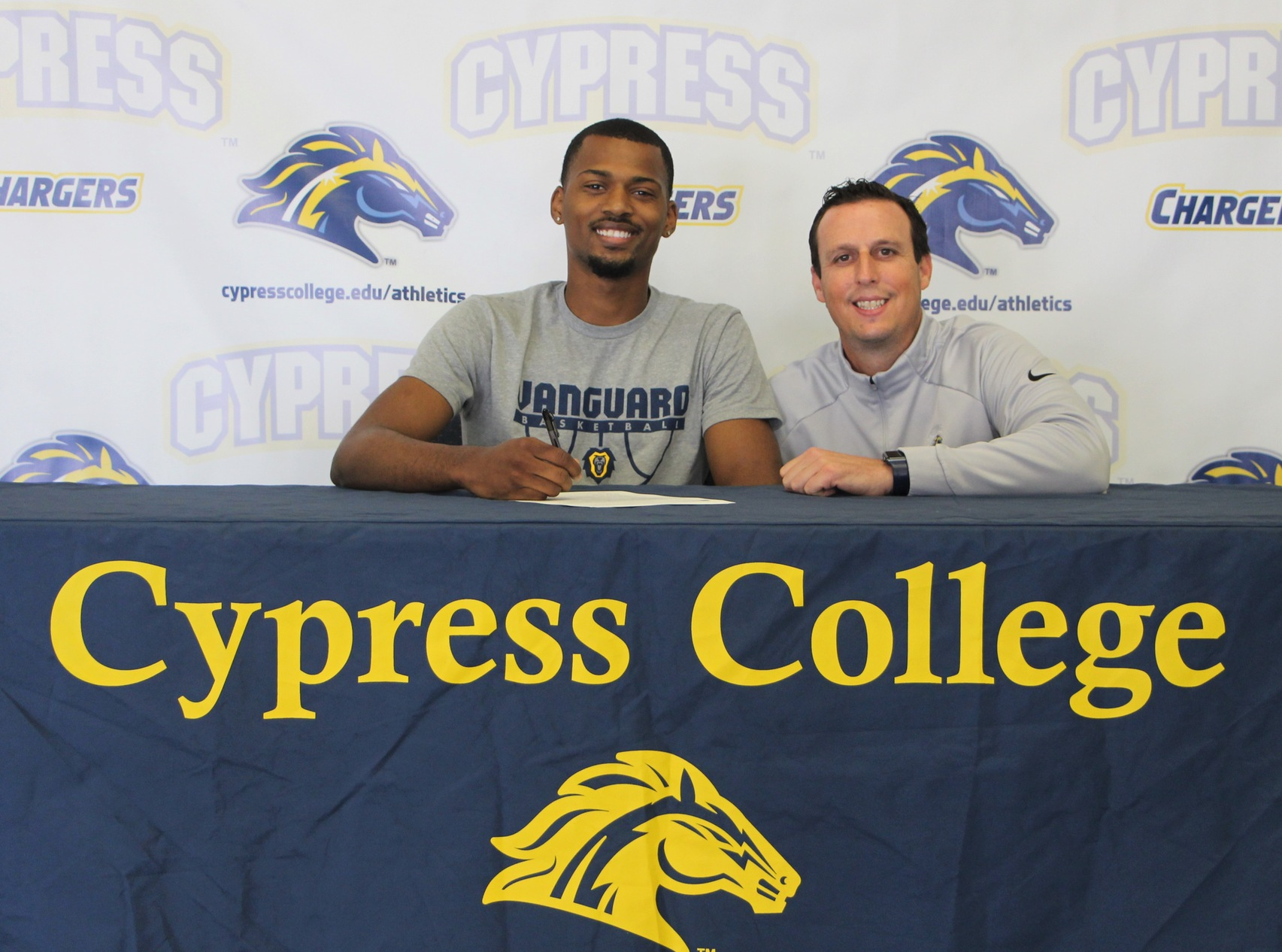 Mike Magee and Cypress College Men's Basketball Coach Drew Alhadeff