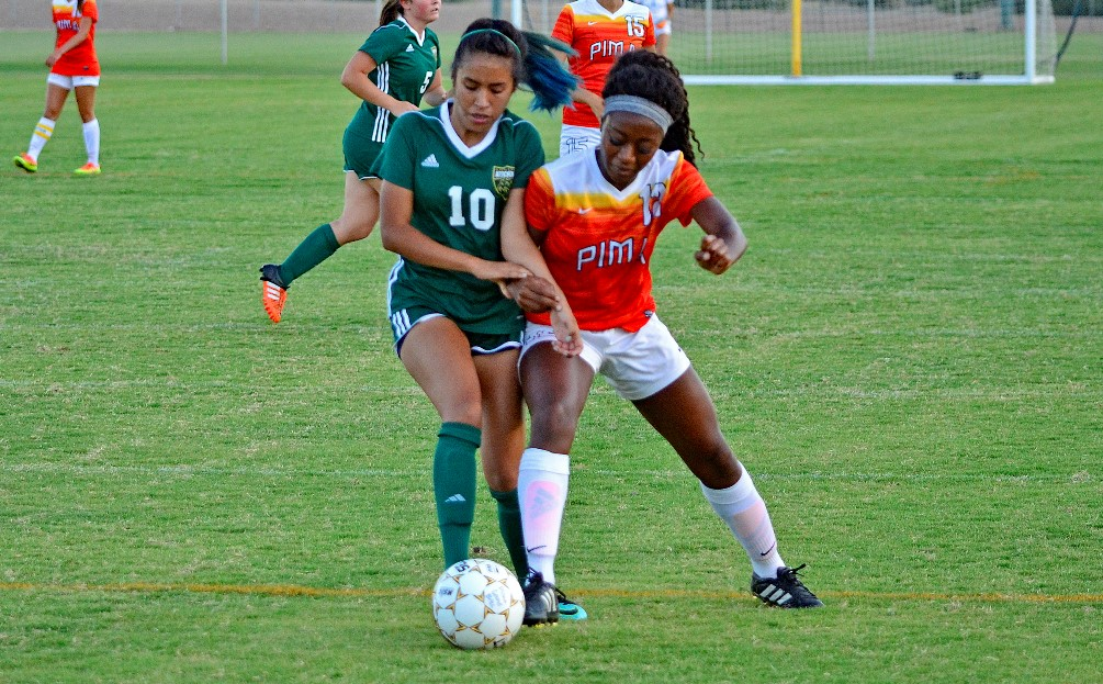 Sophomore Jahmonique Smith (Cienega HS) scored Pima's only goal in the 64th minute but the Aztecs fell to No. 18 Arizona Western College 3-1 on Thursday at Kino North Stadium. The Aztecs are 6-3-1. Photo by Ben Carbajal.