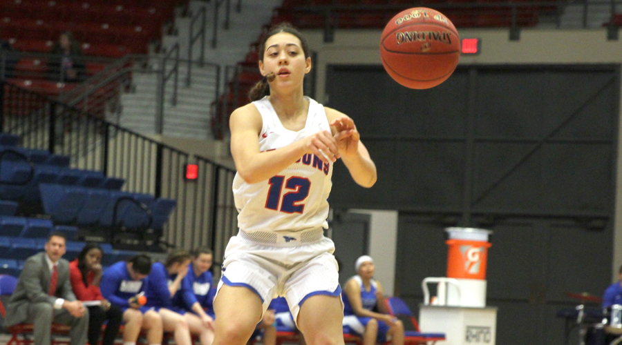 Tia Bradshaw came off the bench to contribute four 3-pointers and 15 points in No. 13 Hutchinson's 102-35 win over Lamar on Tuesday at the Sports Arena. (Bre Rogers/Blue Dragon Sports Information)