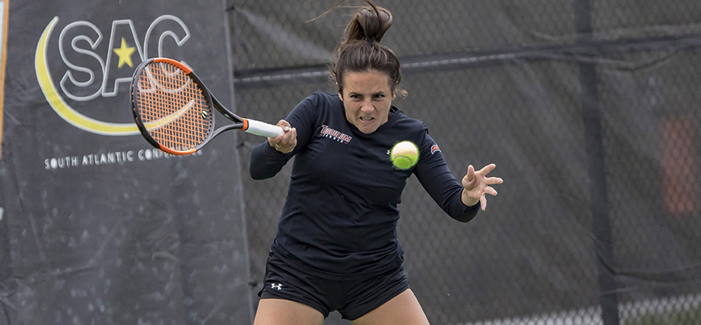 Julia Lopez had the clinching point in the win over Wingate (photo by Chuck Williams)
