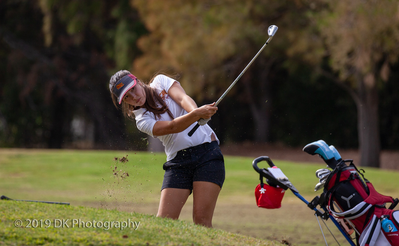 Gabriella Herrera, City College sophomore stares down short shot to the 10th hole at the Jan High Memorial at Bing Maloney Golf Course on Oct. 8th.