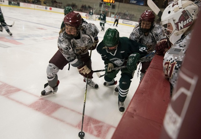 Alyssa Hulst women's hockey action vs. Morrisville