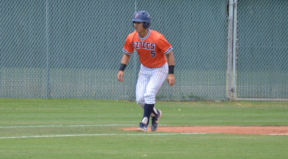 Sophomore Richard Ware drove in four runs in the first game after going 2 for 3 with two runs scored as the Aztecs baseball team split with No. 8 Cochise College on Saturday at the West Campus. The Aztecs are now 35-15 overall and 21-12 in ACCAC conference play. Photo by Gabe Mendoza