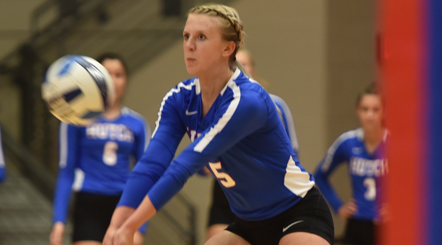Lauren Willson had 15 kills and 10 digs to lead the Blue Dragons in a five-set loss at Colby on Wednesday. (Casey Bailey/Blue Dragon Sports Information)