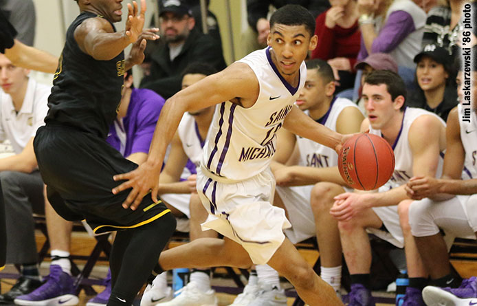Men's basketball stages large rally, falls to regionally-ranked Merrimack, 64-60