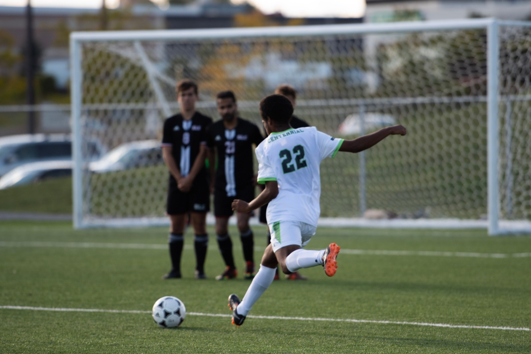 The Colts' Terrell Roberts goes for goal on a free kick attempt during second half action between Centennial and the St. Lawrence Vikings. The home team controlled the pace in the 3-0 victory over the Vikings (Via Dulay/Sports Information Officer)