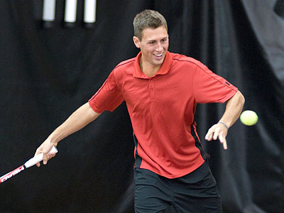 FSU's Kyle Revall posted a three-set win at the top singles flight versus UMKC (FSU Photo Services)