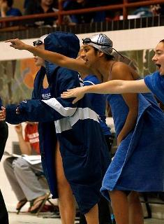 Blue Swimming & Diving Falls to Conn, Bates