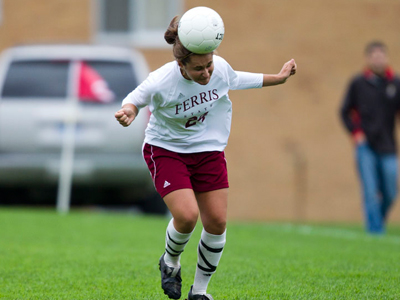Freshman Audra Merino heads the ball in Friday's action versus Ohio Dominican.  (Photo by Ben Amato)
