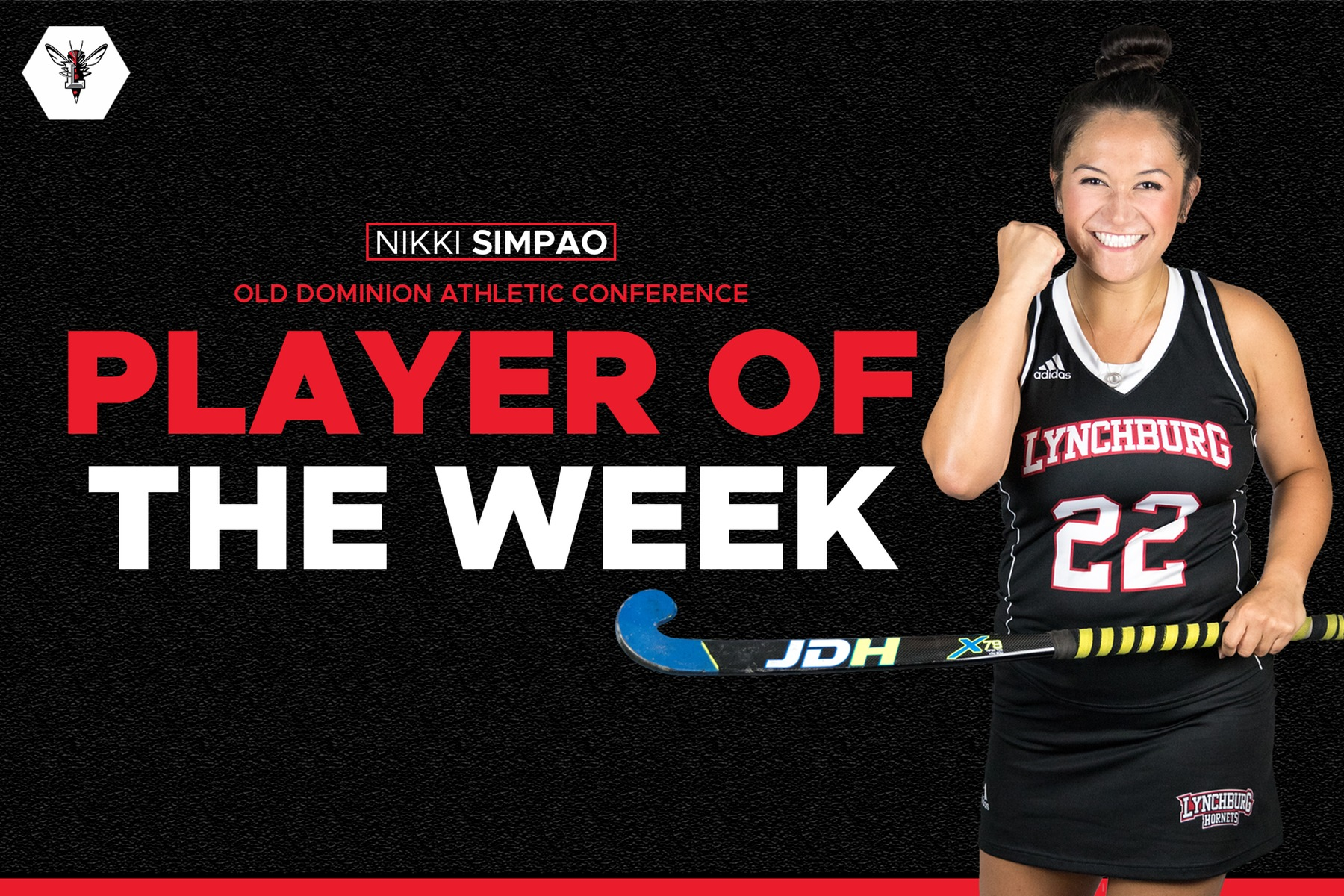 Nikki Simpao pumping her fist. Graphic with black background and ODAC player of the week text. Lynchburg logo in corner.