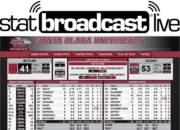 Santa Clara Announces Mobile-Optimized Partnership with StatBroadcast