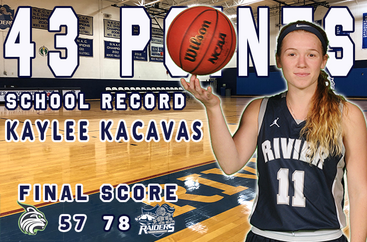 Women's Basketball: Kacavas sets program record with 43 points in win over Lesley