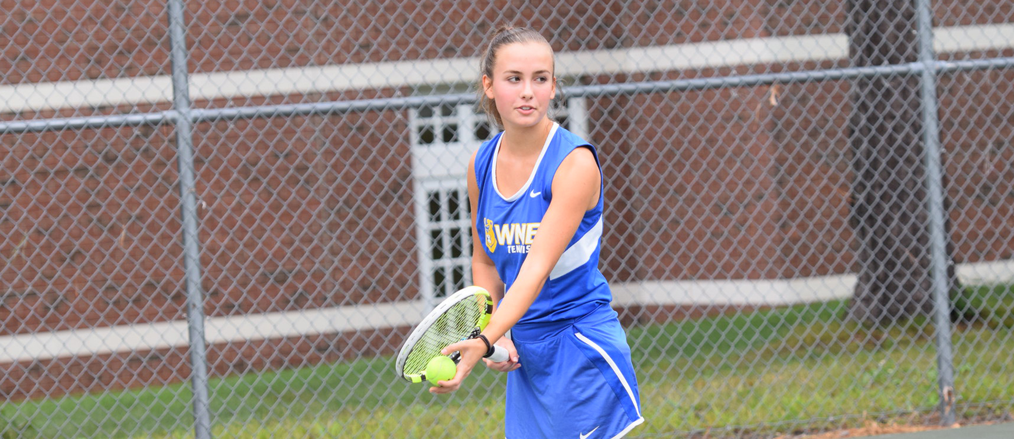 Sydney Lewis registered a 6-1, 6-0 win at No. 5 singles as WNE defeated Curry 5-0 on Wednesday. (Photo by Rachael Margossian)